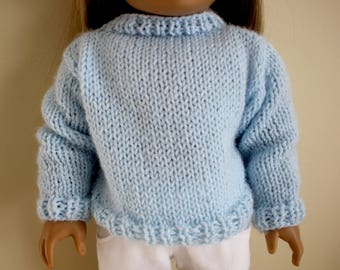 Light Blue Sweater for 18 inch dolls; fits American Girl