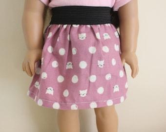 Purple Cat Skirt for 18 inch dolls; fits American Girl dolls