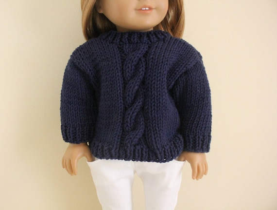Navy Blue Cable Knit Sweater For 18 Inch Dolls Fits American Etsy