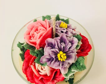 Multiple flower bouquet soy candle