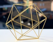 Gold Tone Decor, Coffee Table Decor, Gold Tone Orb, Icosahedron Modern Minimalist Himmeli SPHERE , Geometric Ornament, Library Decor