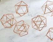 7.8 quot Copper Himmeli Orb, Wedding Table Decor, Icosahedron Modern Himmeli SPHERE , Geometric Ornament, Air Plant Holder, Library Decor