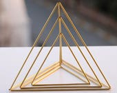 Gold Tone Tetrahedron Nesting Triangle Centerpieces, Himmeli Triangles, Office Desk, Coffee Table, Mobile, Geometric Ornament, Library Decor