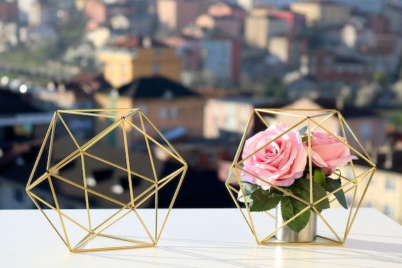 Gold Tone Decor Coffee Table Decor Gold Tone Orb Icosahedron Modern Minimalist Himmeli Sphere Geometric Ornament Library Decor