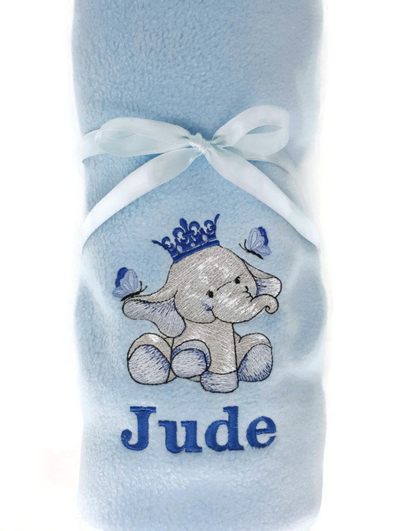 Personalized Fleece Baby Elephant Blanket
