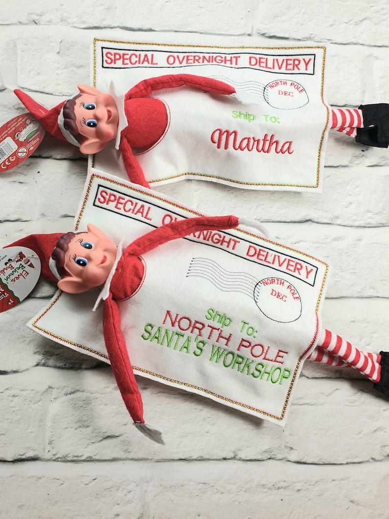 Personalised naughty Elf departure/arrival bag/envelope Elf