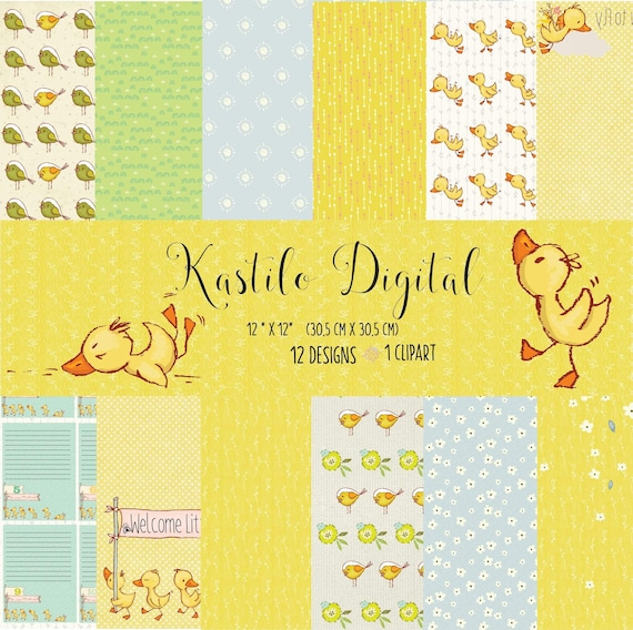Duck Digital Paper Pack With Rubber Ducky And Bubble Patterns Printable Papers Set Baby Backgrounds Digital Scrapbook Download