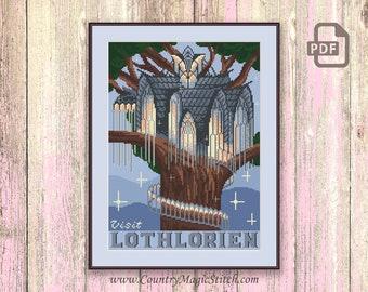 Visit Lothlorien Cross Stitch Pattern, Lord of the Rings Cross Stitch Pattern, Movie Cross Stitch Pattern, Retro Travel Pattern #tv065