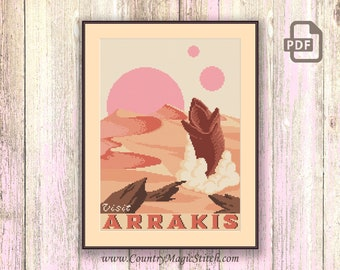 Visit Arrakis Cross Stitch Pattern, Dune Cross Stitch Pattern, Movie Cross Stitch Pattern, TV Cross Stitch, Retro Travel Pattern #tv072