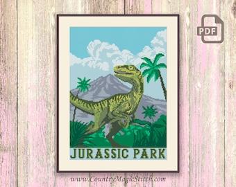Jurassic Park Cross Stitch Pattern, Isla Nublar Cross Stitch Pattern, Dinosaur Cross Stitch Pattern, Retro Travel Pattern #tv011