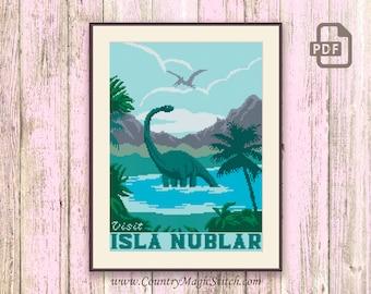 Visit Isla Nublar Cross Stitch Pattern, Jurassic Park Cross Stitch Pattern, Dinosaur Cross Stitch Pattern, Retro Travel Pattern #tv010