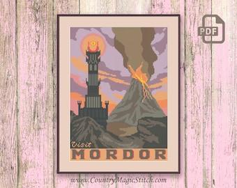 Visit Mordor Cross Stitch Pattern, Lord of the Rings Cross Stitch Pattern, Movie Cross Stitch Pattern, Retro Travel Pattern #tv021