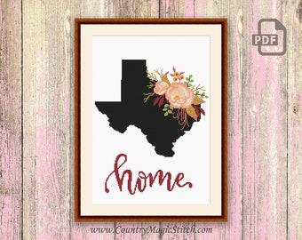 Texas Cross Stitch Pattern, State of Texas Cross Stitch Pattern, Map Cross Stitch Pattern, Download Map Pattern #mp002