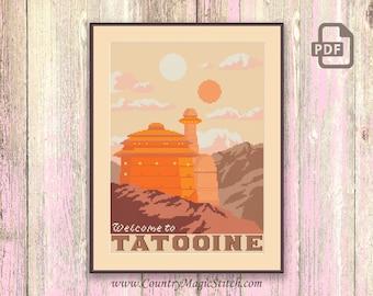 Welcome to Tatooine Cross Stitch Pattern, Star Wars Cross Stitch Pattern, Star Wars Pattern, Star Wars xStitch, Retro Travel Pattern #tv025