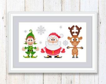 Merry Christmas Cross Stitch Pattern Santa Claus Christmas Moose Elf #ch004
