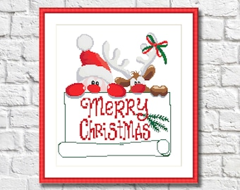 Cross Stitch Pattern Santa Claus and Christmas Moose #ch002