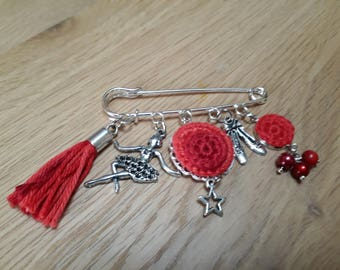 Brooch pin red shades and silver metal - dance