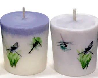 Dragonfly Gift Set, Summer Decor, Decorative Candle, Country Centerpiece, Garden Inspired, Wedding Reception Votives, Housewarming Gifts