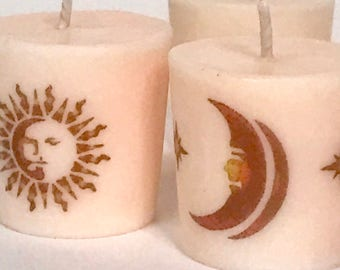 Sun Moon Stars Celestial Scented Soy Candles, Soy Votive Candles, Astronomy Candle Gift Set for Mom