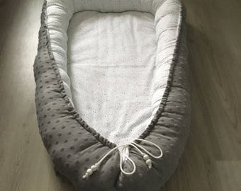 Baby Litter/BABYCOT-grey with white and mint