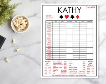 Personalized Canasta Pad - LARGE