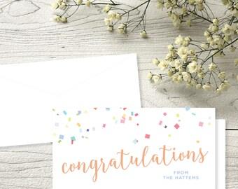 SET OF 18: Confetti Congratulations Check Cards
