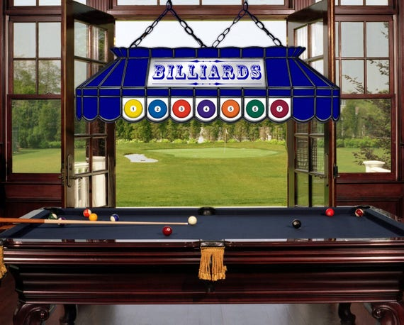 Peachy Billiard Pool Table Lamp All Blue Stained Glass And Mirror Download Free Architecture Designs Viewormadebymaigaardcom