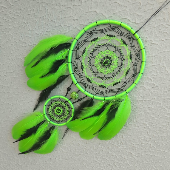 Lime green dreamcatcher wall hanging boho home decor neon green wall art  bedroom decor hippie home decor rave party house warming gift her