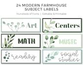 Classroom Modern Farmhouse Subject Labels, 24 Labels, EDITABLE, Customizable on Canva, Printables, Classroom Decor, Modern Farmhouse Decor
