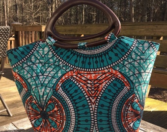 Teal and Orange wooden handle tote