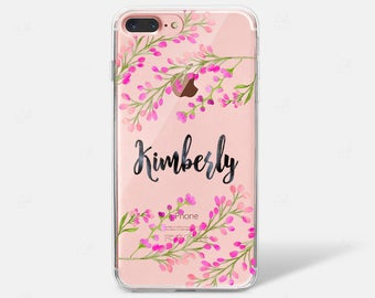 Watercolor Flower Floral Custom Initial Monogram Name  iPhone 6 iPhone 7 iPhone 7 PLUS iPhone 6 PLUS iPhone 8 Case Samsung Galaxy S7 S8 Edge