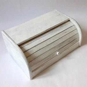 Bread Box Bread Bin White Bread Box Distressed Kitchen Etsy