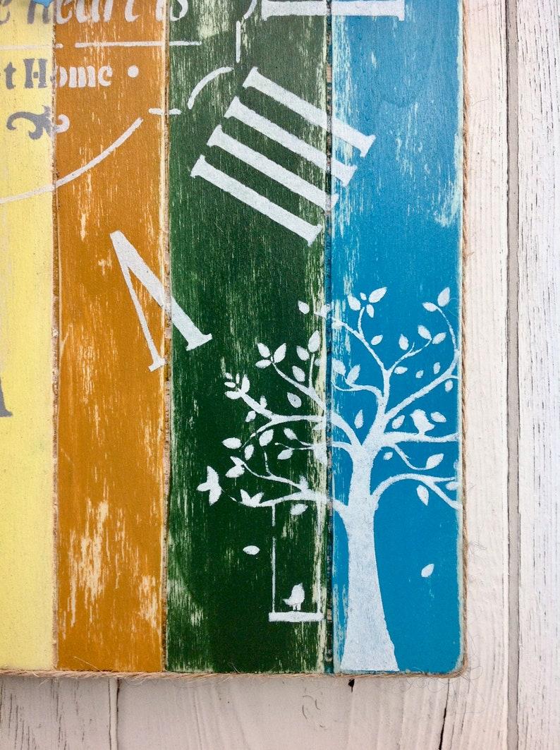 Distressed bois moderne signe d'horloge murale rectangulaire Accueil est l'endroit où le cœur est Farmhouse horloge murale unique horloge murale moderne avec des nombres