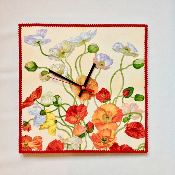 Red Flowers Wall Clock Floral Design Unusual Wall Clocks For Etsy