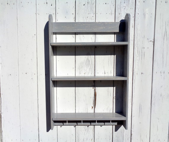 Kitchen Wall Shelves With Mug Hooks Grey Shelf Unit Wooden Etsy