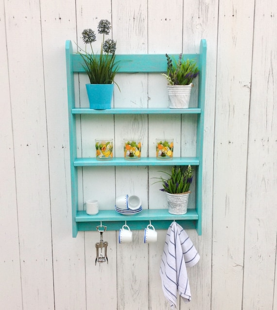 Wooden Spice Rack Wall Shelving Unit Turquoise Shelf With Etsy