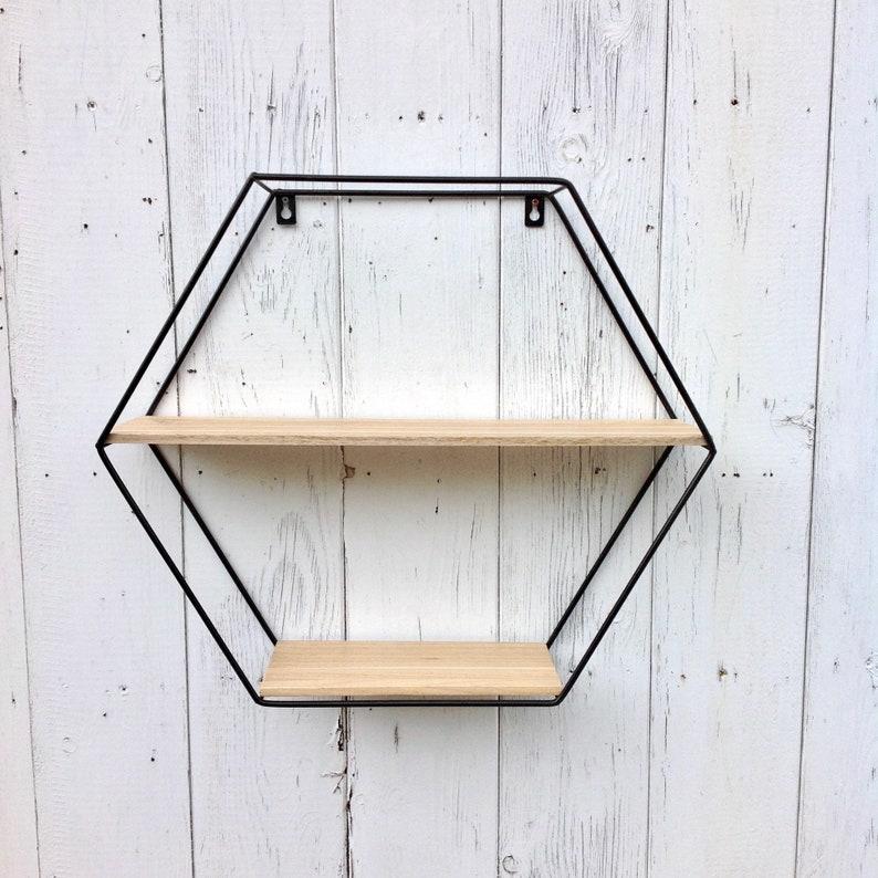 69a4c533a72db8 Sechseckige Wand-Regal-Holz und Metall Sechseck geometrische