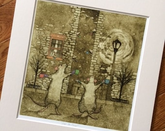 Mice in Snow, 'Ode to Snow' Fine Art Print