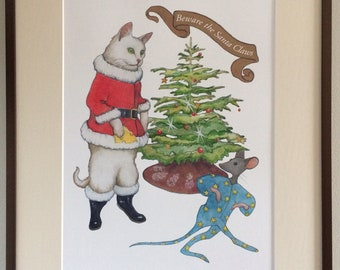 Christmas Cat & Mouse Illustration