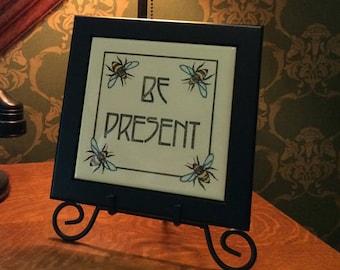Original 'Be Present' etching by Elizabeth Andrews printed on a Ceramic Tile!