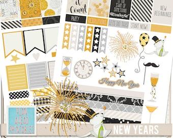 New Year's Eve Erin Condren Life Planner Sticker Kit Printables Calendar