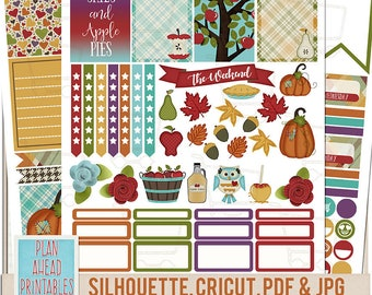 New 2018 Size Apple Cider Fall Fest BIG Mambi Happy Planner Weekly Sticker Kit Printables Memory Keeping Cricut Silhouette Cut Files