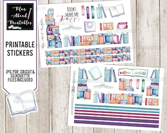 Printable Stickers for Planners, Scrapbooking or Card Making, Reading Books Library