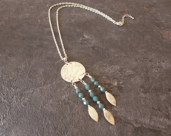 Silver ethnic necklace - peacock blue Czech beads