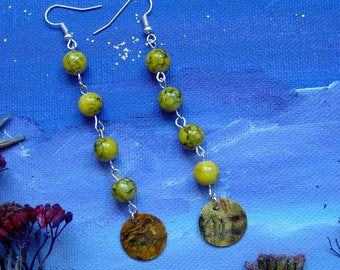 Great earrings yellow sequins and beads