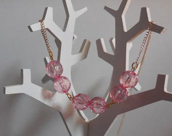 Necklace chain rose gold and pearls transparent roses