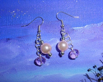 Earrings pink pearls and clear beads