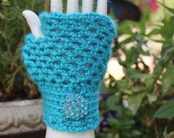 Women's Bright Blue Fingerless Gloves - One Size