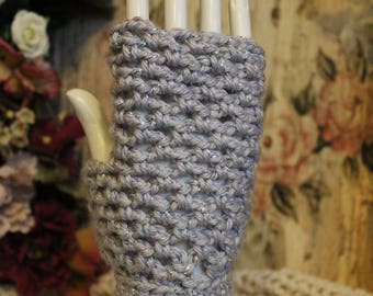 Women's Glamorously Sparkly Silver Fingerless Gloves - One Size