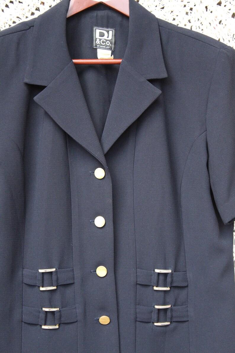 Size 14 Ladies Vintage 1980/'s Dark Navy Blue Brass Buttoned Summer Dressy Blouse  Jacket